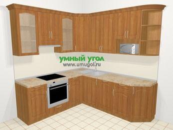 Угловая кухня МДФ матовый в классическом стиле 6,7 м², 210 на 230 см, Вишня, верхние модули 92 см, посудомоечная машина, модуль под свч, встроенный духовой шкаф