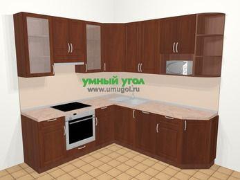 Угловая кухня МДФ матовый в классическом стиле 6,7 м², 210 на 230 см, Вишня темная, верхние модули 92 см, посудомоечная машина, модуль под свч, встроенный духовой шкаф