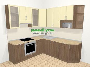 Угловая кухня МДФ матовый в современном стиле 6,7 м², 210 на 230 см, Ваниль / Лиственница бронзовая, верхние модули 92 см, посудомоечная машина, модуль под свч, встроенный духовой шкаф
