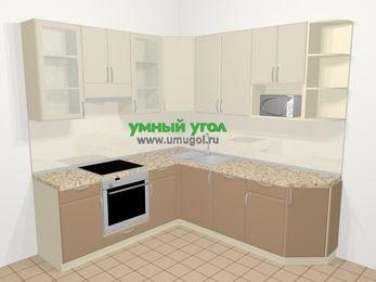 Угловая кухня МДФ матовый в современном стиле 6,7 м², 210 на 230 см, Керамик / Кофе, верхние модули 92 см, посудомоечная машина, модуль под свч, встроенный духовой шкаф