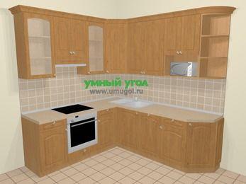 Угловая кухня МДФ матовый в стиле кантри 6,7 м², 210 на 230 см, Ольха, верхние модули 92 см, посудомоечная машина, модуль под свч, встроенный духовой шкаф