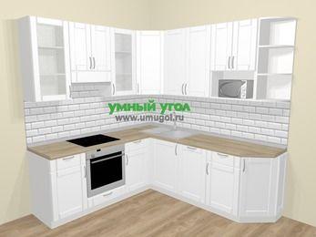 Угловая кухня МДФ матовый  в скандинавском стиле 6,7 м², 210 на 230 см, Белый, верхние модули 92 см, посудомоечная машина, модуль под свч, встроенный духовой шкаф
