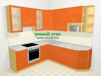 Угловая кухня МДФ металлик в современном стиле 6,7 м², 210 на 230 см, Оранжевый металлик, верхние модули 92 см, посудомоечная машина, модуль под свч, встроенный духовой шкаф