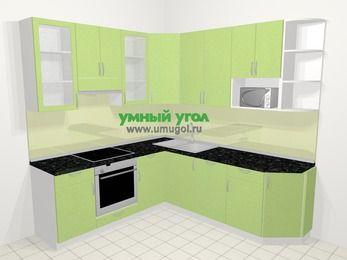 Угловая кухня МДФ металлик в современном стиле 6,7 м², 210 на 230 см, Салатовый металлик, верхние модули 92 см, посудомоечная машина, модуль под свч, встроенный духовой шкаф
