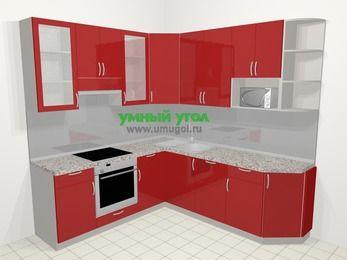 Угловая кухня МДФ глянец в современном стиле 6,7 м², 210 на 230 см, Красный, верхние модули 92 см, посудомоечная машина, модуль под свч, встроенный духовой шкаф