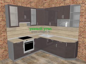 Угловая кухня МДФ глянец в стиле лофт 6,7 м², 210 на 230 см, Шоколад, верхние модули 92 см, посудомоечная машина, модуль под свч, встроенный духовой шкаф