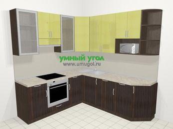 Кухни пластиковые угловые в современном стиле 6,7 м², 210 на 230 см, Желтый Галлион глянец / Дерево Мокка, верхние модули 92 см, посудомоечная машина, модуль под свч, встроенный духовой шкаф