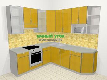 Кухни пластиковые угловые в современном стиле 6,7 м², 210 на 230 см, Желтый глянец, верхние модули 92 см, посудомоечная машина, модуль под свч, встроенный духовой шкаф