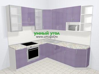 Кухни пластиковые угловые в современном стиле 6,7 м², 210 на 230 см, Сиреневый глянец, верхние модули 92 см, посудомоечная машина, модуль под свч, встроенный духовой шкаф