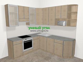 Кухни пластиковые угловые в стиле лофт 6,7 м², 210 на 230 см, Чибли бежевый, верхние модули 92 см, посудомоечная машина, модуль под свч, встроенный духовой шкаф