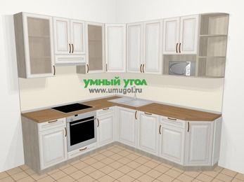 Угловая кухня МДФ патина в классическом стиле 6,7 м², 210 на 230 см, Лиственница белая, верхние модули 92 см, посудомоечная машина, модуль под свч, встроенный духовой шкаф