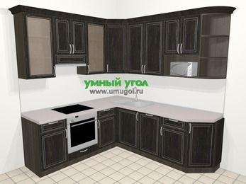 Угловая кухня МДФ патина в классическом стиле 6,7 м², 210 на 230 см, Венге, верхние модули 92 см, посудомоечная машина, модуль под свч, встроенный духовой шкаф