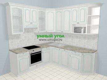 Угловая кухня МДФ патина в стиле прованс 6,7 м², 210 на 230 см, Лиственница белая, верхние модули 92 см, посудомоечная машина, модуль под свч, встроенный духовой шкаф