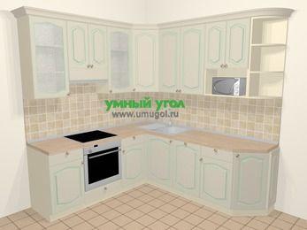 Угловая кухня МДФ патина в стиле прованс 6,7 м², 210 на 230 см, Керамик, верхние модули 92 см, посудомоечная машина, модуль под свч, встроенный духовой шкаф