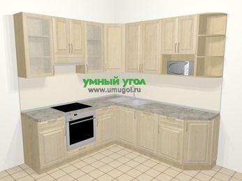 Угловая кухня из массива дерева в классическом стиле 6,7 м², 210 на 230 см, Светло-коричневые оттенки, верхние модули 92 см, посудомоечная машина, модуль под свч, встроенный духовой шкаф