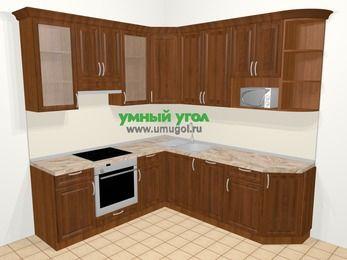 Угловая кухня из массива дерева в классическом стиле 6,7 м², 210 на 230 см, Темно-коричневые оттенки, верхние модули 92 см, посудомоечная машина, модуль под свч, встроенный духовой шкаф