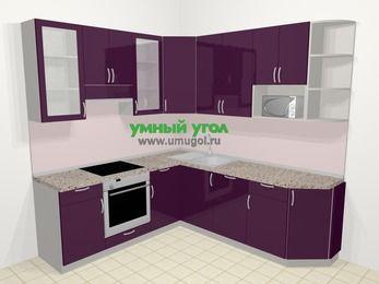 Угловая кухня МДФ глянец в современном стиле 6,7 м², 210 на 230 см, Баклажан, верхние модули 92 см, посудомоечная машина, модуль под свч, встроенный духовой шкаф