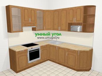 Угловая кухня МДФ патина в классическом стиле 6,7 м², 210 на 230 см, Ольха, верхние модули 92 см, посудомоечная машина, модуль под свч, встроенный духовой шкаф