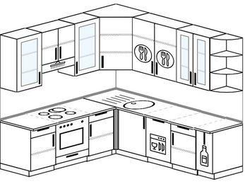 Угловая кухня 6,7 м² (2,1✕2,3 м), верхние модули 92 см, посудомоечная машина, встроенный духовой шкаф