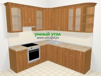 Угловая кухня МДФ матовый в классическом стиле 6,7 м², 210 на 230 см, Вишня, верхние модули 92 см, посудомоечная машина, встроенный духовой шкаф