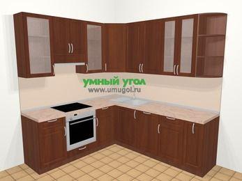 Угловая кухня МДФ матовый в классическом стиле 6,7 м², 210 на 230 см, Вишня темная, верхние модули 92 см, посудомоечная машина, встроенный духовой шкаф