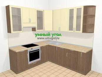 Угловая кухня МДФ матовый в современном стиле 6,7 м², 210 на 230 см, Ваниль / Лиственница бронзовая, верхние модули 92 см, посудомоечная машина, встроенный духовой шкаф