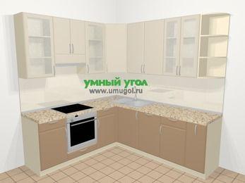 Угловая кухня МДФ матовый в современном стиле 6,7 м², 210 на 230 см, Керамик / Кофе, верхние модули 92 см, посудомоечная машина, встроенный духовой шкаф