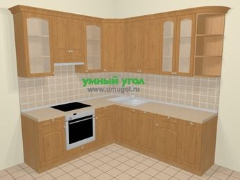 Угловая кухня МДФ матовый в стиле кантри 6,7 м², 210 на 230 см, Ольха, верхние модули 92 см, посудомоечная машина, встроенный духовой шкаф