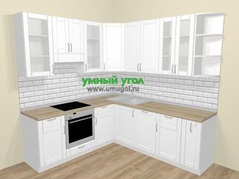 Угловая кухня МДФ матовый  в скандинавском стиле 6,7 м², 210 на 230 см, Белый, верхние модули 92 см, посудомоечная машина, встроенный духовой шкаф