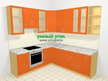 Угловая кухня МДФ металлик в современном стиле 6,7 м², 210 на 230 см, Оранжевый металлик, верхние модули 92 см, посудомоечная машина, встроенный духовой шкаф