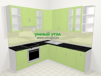 Угловая кухня МДФ металлик в современном стиле 6,7 м², 210 на 230 см, Салатовый металлик, верхние модули 92 см, посудомоечная машина, встроенный духовой шкаф