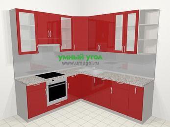 Угловая кухня МДФ глянец в современном стиле 6,7 м², 210 на 230 см, Красный, верхние модули 92 см, посудомоечная машина, встроенный духовой шкаф