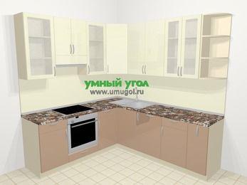 Угловая кухня МДФ глянец в современном стиле 6,7 м², 210 на 230 см, Жасмин / Капучино, верхние модули 92 см, посудомоечная машина, встроенный духовой шкаф