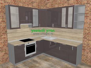 Угловая кухня МДФ глянец в стиле лофт 6,7 м², 210 на 230 см, Шоколад, верхние модули 92 см, посудомоечная машина, встроенный духовой шкаф