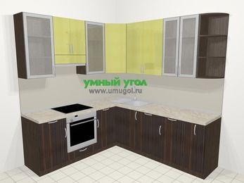 Кухни пластиковые угловые в современном стиле 6,7 м², 210 на 230 см, Желтый Галлион глянец / Дерево Мокка, верхние модули 92 см, посудомоечная машина, встроенный духовой шкаф