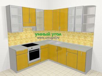 Кухни пластиковые угловые в современном стиле 6,7 м², 210 на 230 см, Желтый глянец, верхние модули 92 см, посудомоечная машина, встроенный духовой шкаф