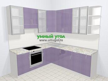 Кухни пластиковые угловые в современном стиле 6,7 м², 210 на 230 см, Сиреневый глянец, верхние модули 92 см, посудомоечная машина, встроенный духовой шкаф