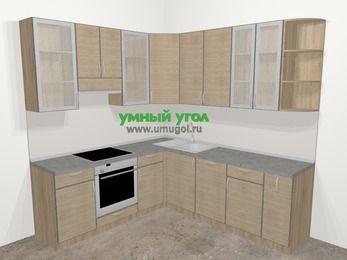Кухни пластиковые угловые в стиле лофт 6,7 м², 210 на 230 см, Чибли бежевый, верхние модули 92 см, посудомоечная машина, встроенный духовой шкаф