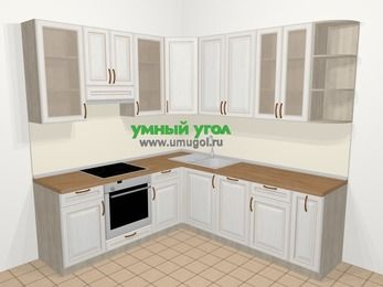 Угловая кухня МДФ патина в классическом стиле 6,7 м², 210 на 230 см, Лиственница белая, верхние модули 92 см, посудомоечная машина, встроенный духовой шкаф