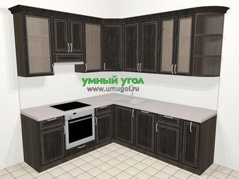 Угловая кухня МДФ патина в классическом стиле 6,7 м², 210 на 230 см, Венге, верхние модули 92 см, посудомоечная машина, встроенный духовой шкаф