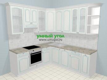 Угловая кухня МДФ патина в стиле прованс 6,7 м², 210 на 230 см, Лиственница белая, верхние модули 92 см, посудомоечная машина, встроенный духовой шкаф