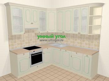 Угловая кухня МДФ патина в стиле прованс 6,7 м², 210 на 230 см, Керамик, верхние модули 92 см, посудомоечная машина, встроенный духовой шкаф