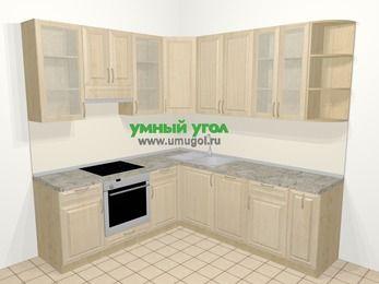 Угловая кухня из массива дерева в классическом стиле 6,7 м², 210 на 230 см, Светло-коричневые оттенки, верхние модули 92 см, посудомоечная машина, встроенный духовой шкаф