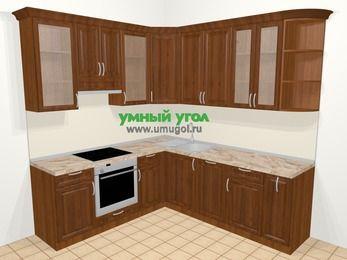 Угловая кухня из массива дерева в классическом стиле 6,7 м², 210 на 230 см, Темно-коричневые оттенки, верхние модули 92 см, посудомоечная машина, встроенный духовой шкаф