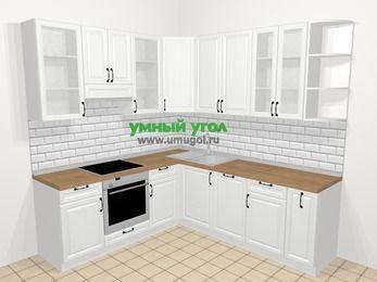 Угловая кухня из массива дерева в скандинавском стиле 6,7 м², 210 на 230 см, Белые оттенки, верхние модули 92 см, посудомоечная машина, встроенный духовой шкаф