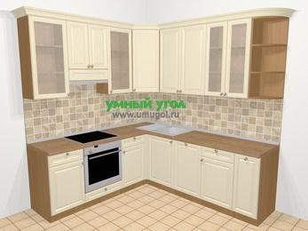 Угловая кухня из массива дерева в стиле кантри 6,7 м², 210 на 230 см, Бежевые оттенки, верхние модули 92 см, посудомоечная машина, встроенный духовой шкаф