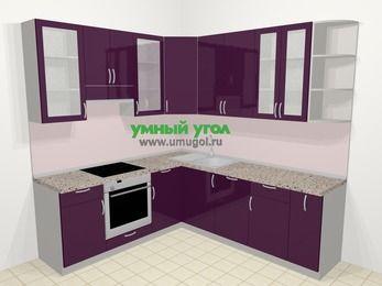 Угловая кухня МДФ глянец в современном стиле 6,7 м², 210 на 230 см, Баклажан, верхние модули 92 см, посудомоечная машина, встроенный духовой шкаф