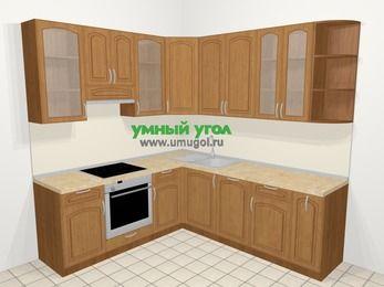 Угловая кухня МДФ патина в классическом стиле 6,7 м², 210 на 230 см, Ольха, верхние модули 92 см, посудомоечная машина, встроенный духовой шкаф