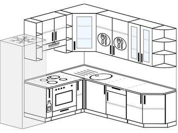 Угловая кухня 6,7 м² (2,1✕2,3 м), верхние модули 92 см, встроенный духовой шкаф, холодильник