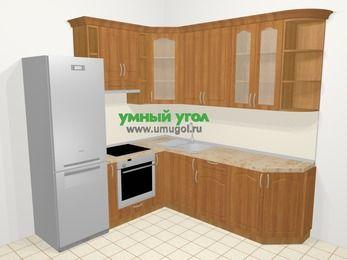 Угловая кухня МДФ матовый в классическом стиле 6,7 м², 210 на 230 см, Вишня, верхние модули 92 см, встроенный духовой шкаф, холодильник